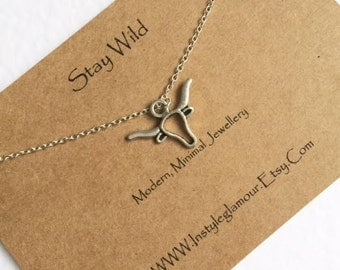 Deer Necklace, Silver Deer Necklace, Stag Necklace, Elk Necklace, Deer Head Necklace