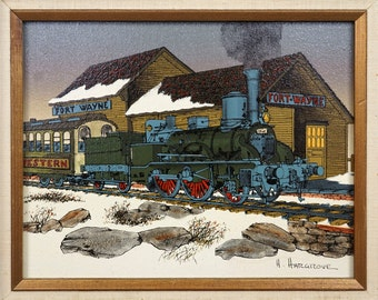 Vintage H. Hargrove Oil Painting Fort Wayne Train Locomotive Signed Art Folkart