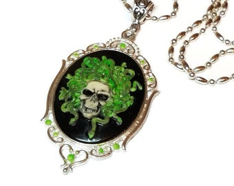 Medusa Skull Cameo Necklace, Medusa Cameo, Skull with Snakes Necklace