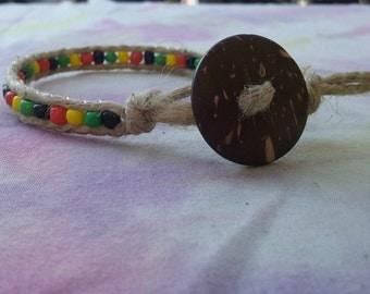 Rastafaria style Hemp bracelet- Rasta hemp bracelet-  Rasta Leather Bracelet- Rastafarian leather bracelet- reggae style jewelry