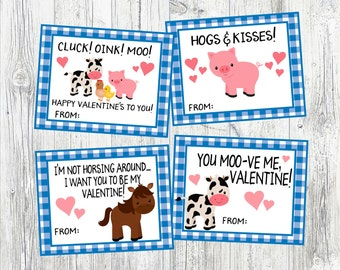 Farm Animal Valetine's Day Cards. Cluck, Oink, Moo Happy Valentine's to You! Cow, Horse, Hogs & Kisses. Printable, Digital Class Valentine's