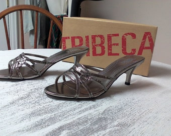 NIB Tribeca by Kenneth Cole Silver Backless High Heeled Shoes