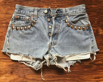 Bad Reputation studded Levi's shorts