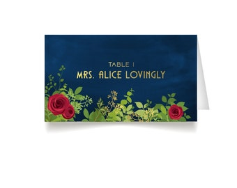 The ALICE Garden . Place Cards . Red Rose Garden Art Deco 1920s Gold & Navy Military Nautical . Wedding Seating Escort Tent Name Cards