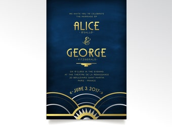 The ALICE . Invitation Set . Art Deco Wedding Gold Silver Navy Blue Great Gatsby 1920s Speakeasy Parlor Fitzgerald Night Sky . PRINTED SETS