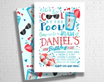 Pool Party Birthday Invitation | Boy's Birthday Pool Party |  Splish Splash | Pool Party Invitation | Summer Birthday | DIGITAL FILE ONLY