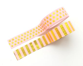 Salmon pink washi tapes, set of 2, with shiny gold stripes & polka dots