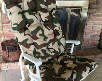 Custom Camo Rocking Chair Cushion Set, Glider Replacement Covers, Wooden Rocker Cushions