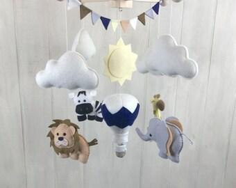 Baby mobile - jungle mobile - elephant, zebra, lion, giraffe mobile - jungle nursery decor - safari mobile - hot air balloon mobile - sun