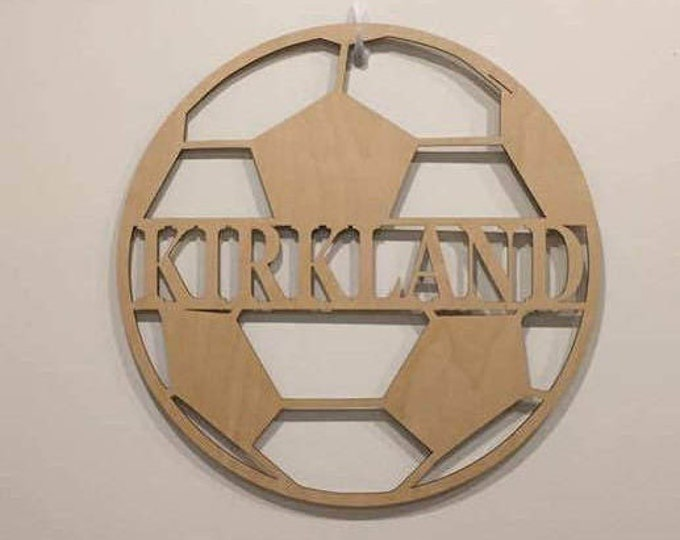 "18"" Wood Soccer Ball Last Name Team Name Laser Cutout Sport Shape Unfinished"