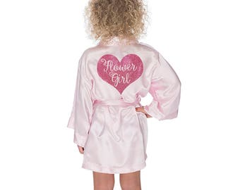 Flower Girl Robe, Flower Girl Satin Kimono with pink glitter heart, flower girl gift idea, bridal party robes, wedding day robe