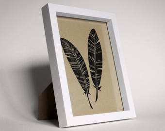 Hand-Printed Feathers Lino-Print Artwork - Framed Without Mount