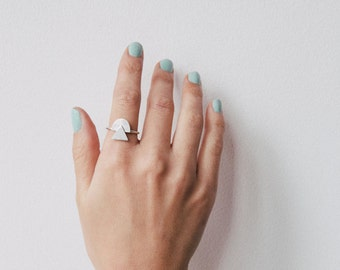 Ilda | Geometric Oxidized Silver Statement Ring Triangle and Dome