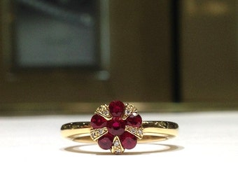 1.00 Carat Natural Ruby & Diamond  Ring in 14K Yellow Gold