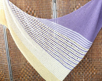 Large cotton striped shawl, yellow, purple and white striped wrap, spring and summer wrap, Pima cotton triangle shawl, Easter wrap