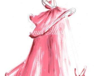 Fashion illustration, Princess art, Princess painting, Fashion art, Fashion wall art, Fashion sketch, Fashion art print, Fashion print
