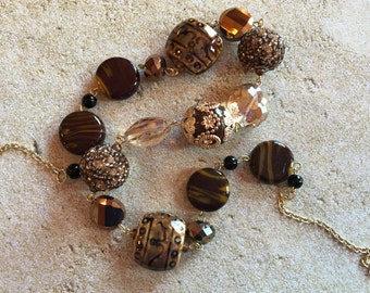 Brown Necklace, Brown Glass Beaded Necklace, Beadwork Necklace, Gift For Her, Statement Necklace, Trending Item