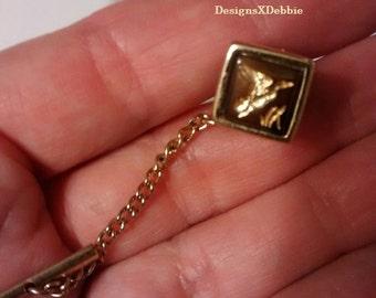 vintage, maker unknown, tie tack, tie bar, pin, men, menswear, suit, formal, gold, duck, accessories, retro