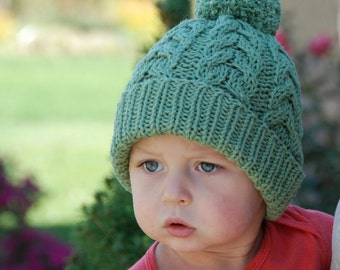 Ready to ship! Cable hat with pom pom, baby boy girl knit hat, hand knitted cable hat baby, 2T cotton hat, sage green cotton beanie,