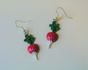 20% OFF SUMMER SALE Radish Earrings Handpainted Radish or Turnip Earrings