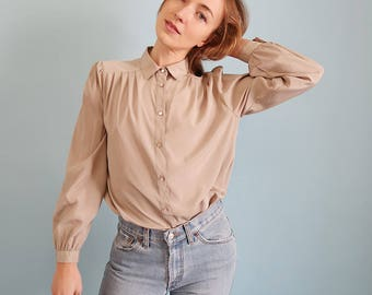 Vintage Champagne Satin Blouse with Pleating!