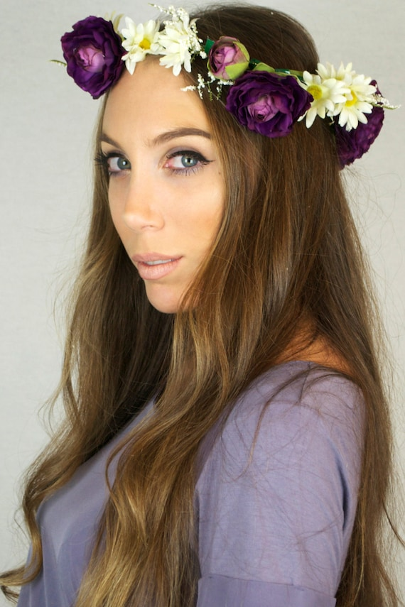 FREE GIFT with Purchase // Flower Crown Handmade Festive Purple Rose White Daisy Headpiece