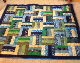Lap Quilt Geometric design blue green gold hand-quilted jewel tones quilted throw