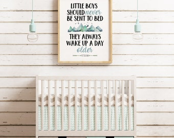Peter Pan Little Boys Should Never Be Sent to Bed Printable, First Birthday, Nursery, Decor