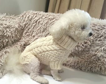 Dog CLOTHES, Off white Fisherman's Cable knit sweater with turtleneck