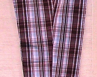Vintage Madras-style Low Waist Pants