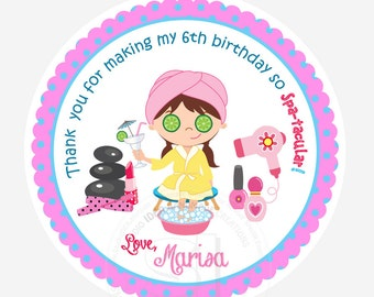 """Custom Spa Party Printable 2.5"""" Tags-Personalized Beauty Theme Birthday 2.5 inches Tags- Stickers, DIY Spa Party Favor Tags"""