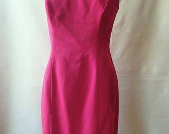 Vintage fuschia pink prom dress; 80s prom dress; raw silk fancy dress; strapless party dress; cocktail evening dress; occasion dress M