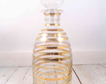 Gold Stripe Decanter, decanter, vintage, barware, bar, gold stripe bottle, glass decanter, glass bottle, liquor bottle, vintage, barware
