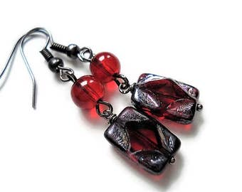 Red Earrings Bohemian Jewelry Vintage Style Long Earrings Statement Jewelry Black Earrings Red Jewelry Boho Earrings Glass Jewelry Gift Idea