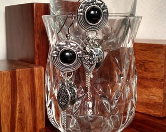 SALE! 50% OFF Silver and Black Dangle Earrings