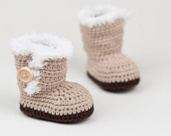 CROCHET PATTERN - Crochet Baby Ugg Inspired Baby Booties - Baby Shoes - PDF