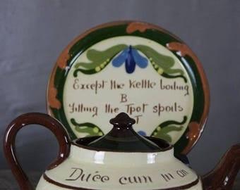 Torquay Mottoware Tea Pot & Stand