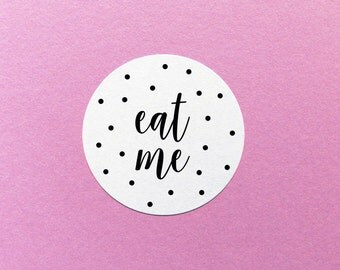 Eat Me Sticker, Confetti Wedding Label, Party Favour Stickers, Food Party Favour Stickers, Wedding Cake Sticker, Eat Me Labels, Favor Label