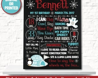 Winter Onederland Chalkboard - Winter Wonderland Chalkboard - Winter Onederland Decorations - Penguin Chalkboard - 1st birthday chalkboard