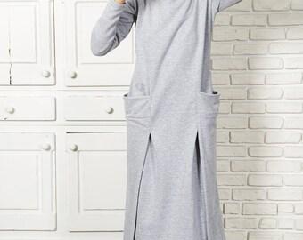 Womens Caftan Dress, Bohemian Dress, Gypsy Dress, Maxi Tunic Sweater, Minimalist Dress, Long Sleeve Dress, Winter Clothing, Gray Long Dress