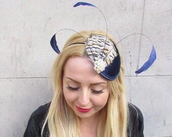 Navy Blue Cream Partridge Statement Feather Fascinator Headband Hat Races 2370