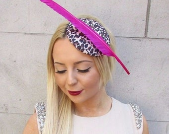 Leopard Animal Print Hot Pink Feather Fascinator Rockabilly Headpiece Races 2459
