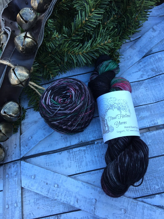 Winter Raven, Drusilla Sock Base,Hand Dyed Yarn,Sock Yarn,Fingering Weight,80/20 Superwash Merino Nylon,2 ply,100 grams, Gift for Knitter