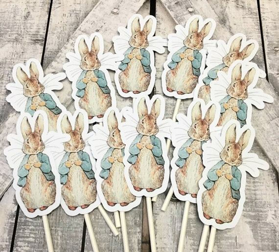 Cupcake Toppers Peter Rabbit, Peter Rabbit Party Decorations,Peter Rabbit Baby Shower, Peter Rabbit Birthday Party Decoration,Beatrix Potter