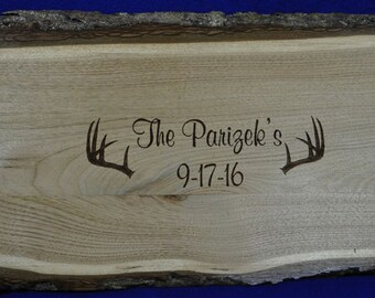 Wedding Guest Book ~ Wedding Sign ~ Wood Slab Guest Book ~ Tree Slice ~ Deer Antler Wedding ~ Buck And Doe Wedding ~ Deer Guest Book ~ Deer