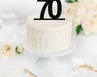 70 Cake Topper - 70th Cake Topper - 70th Birthday Party Decor - Numbered Birthday - Custom Glitter Cake Topper - Birthday Cake Topper