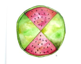 Watermelon watercolour painting, quirky watercolor artwork, wall art, cafe art