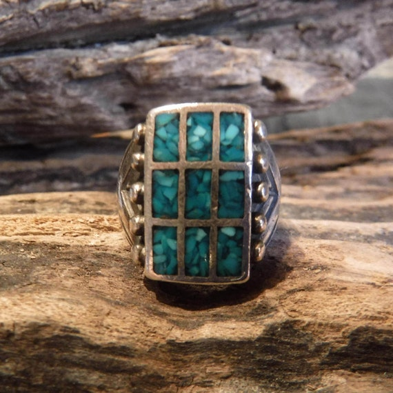 Large Mens Ring Navajo Sterling Silver Turquoise Chip Inlay Ring Heavy 14 gram Size 8.5 Silver Ring Southwestern Vintage Sterling Silver