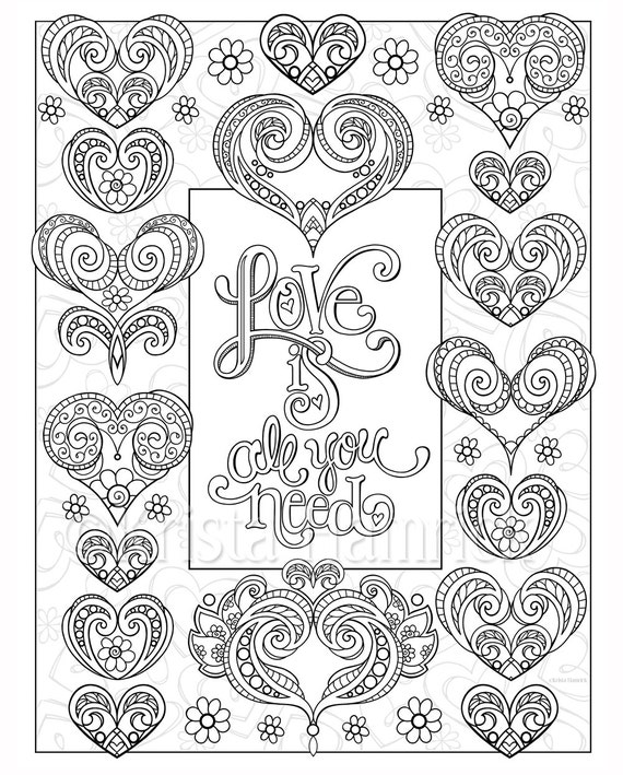 love hearts coloring pages - photo#32