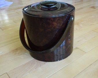 Vintage Brown Ice Bucket | Retro George Briard USA Ice Bucket with Lid and Swing Handle | Man Cave Ice Bucket | Retro Bar Ice Bucket